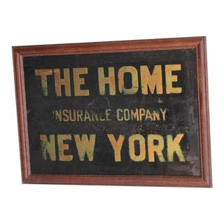 "1900's ""The Home Insurance Company New York "" Reverse Glass Sign For Sale"
