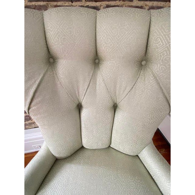 Traditional Baker Furniture Tufted Occasional Chair For Sale - Image 3 of 5