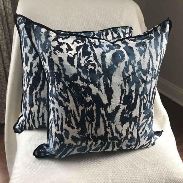 """Textile Schumacher """"Feline"""" Celerie Kemble Pillows - a Pair For Sale - Image 7 of 7"""