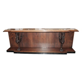Walnut Console Table With Marble Top and Carved Wood Griffins For Sale