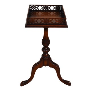 English Galleried Tripod Mahogany Side Table For Sale