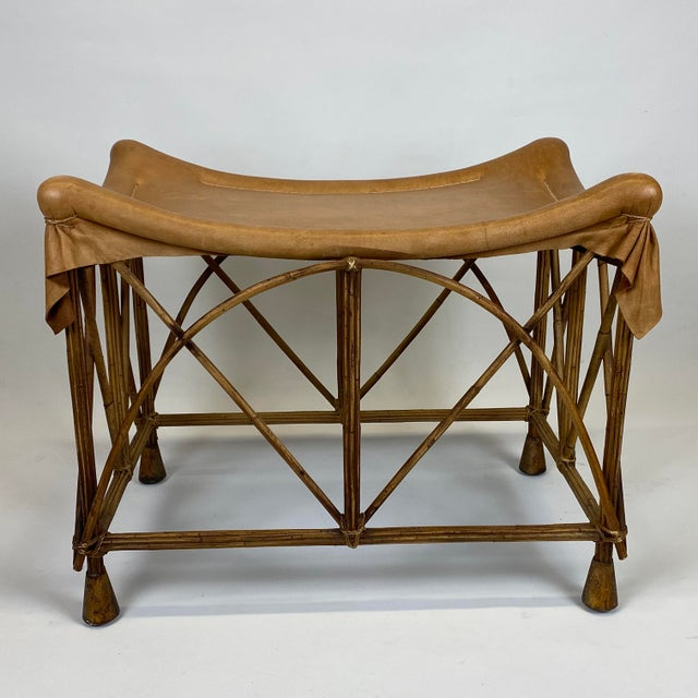 Late 20th Century Late 20th Century Rattan Stool With Soft Leather Seat For Sale - Image 5 of 12