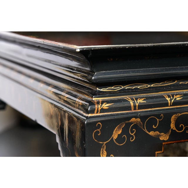 Gold Leaf Asian Black Lacquer Wood Cocktail Table With Hand Painted Gold Florals For Sale - Image 7 of 13