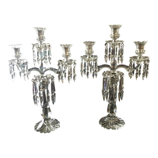 Antique Crystal Candelabras - A Pair - Image 1 of 5