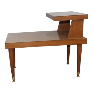 1950s Mid Century Modern Mersman 2 Tier Step Walnut Wood Formica Side Table For Sale