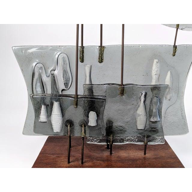 Higgins Style Studio Art Glass Sculpture on Wood Base - Image 6 of 11