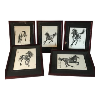 Xu Beihong 1895-1953 Chinese Ink Scroll Horse Paintings - Set of 5 For Sale