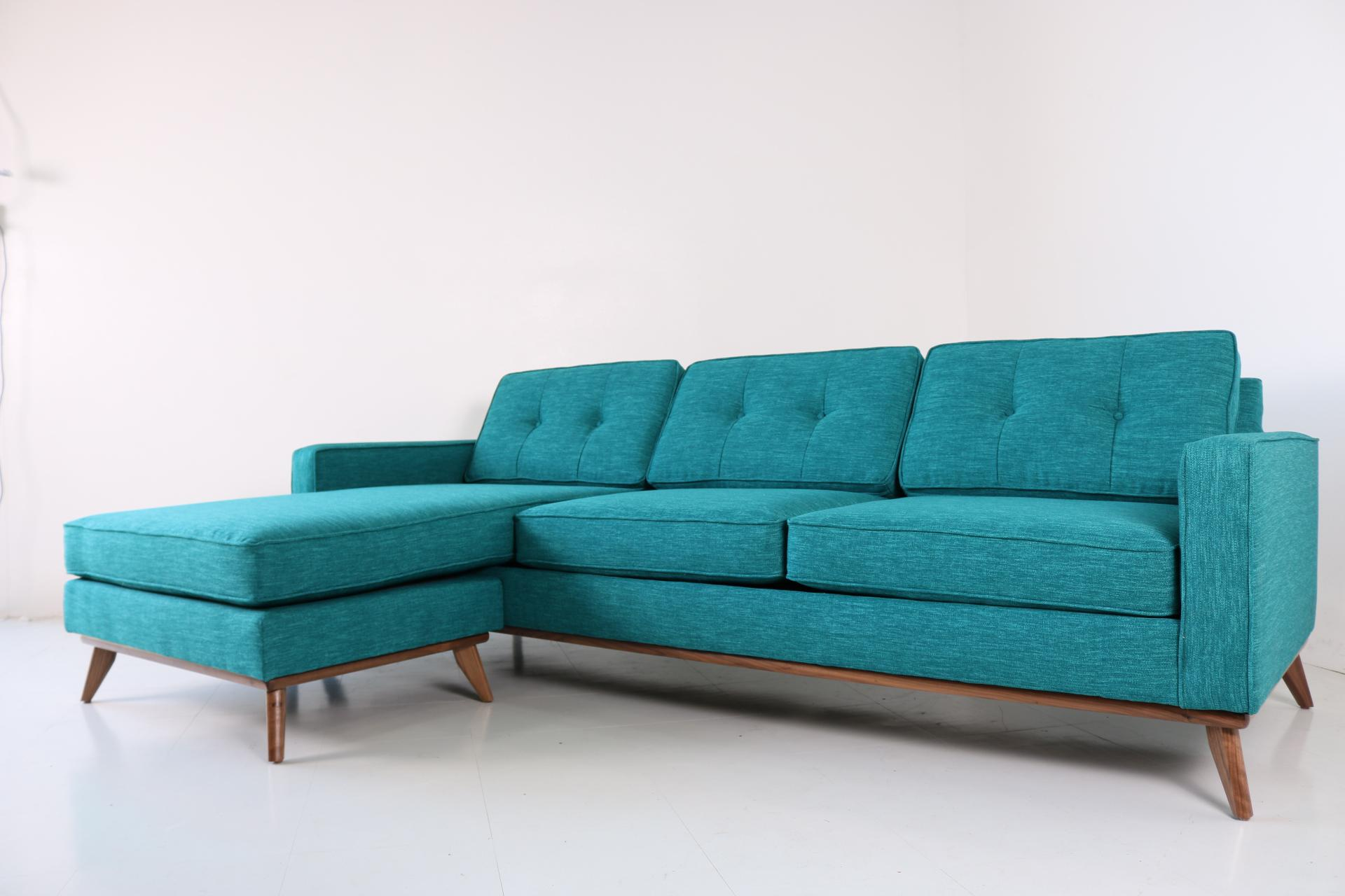 2010s Mid Century Modern Sofa Chaise For Sale   Image 5 Of 5