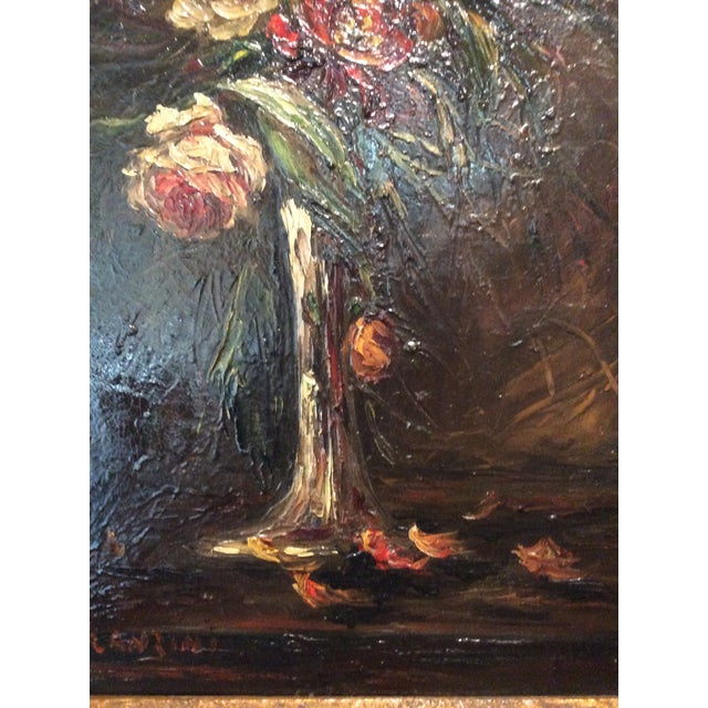 French Pair of 1900s Original French Floral Still Life Paintings by Charles Franzini D'Issoncourt For Sale - Image 3 of 12