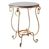 Image of Rene Drouet Style Gilded Iron and Granite Table For Sale