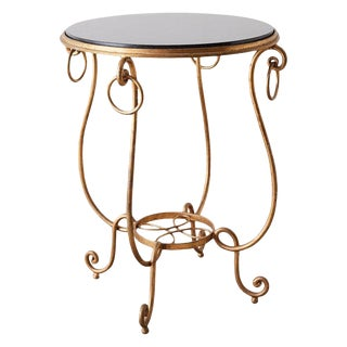 Rene Drouet Style Gilded Iron and Granite Table For Sale