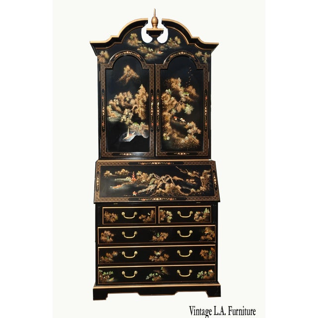 Vintage Chinese Asian Black Lacquer Chinoiserie Secretary Desk Hutch Hand Paint For Sale - Image 13 of 13