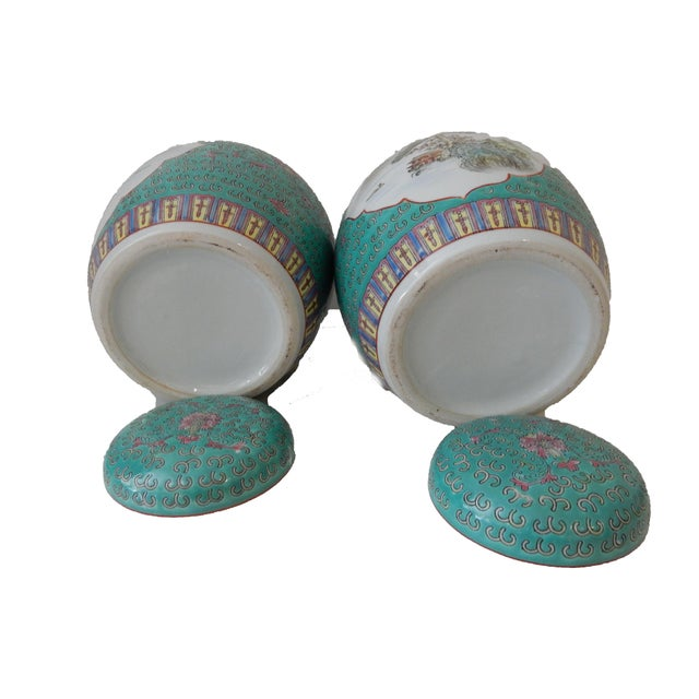 Turquoise Ginger Jars - A Pair For Sale - Image 5 of 5