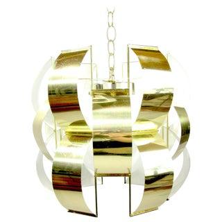 Iconic Lightolier Polished Brass Pendant Light For Sale