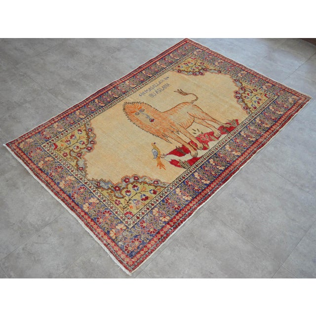 """Antique Turkish Rug Lion Pattern Hand Knotted SuperLow Pile Wool Wall & Area Rug Rare Piece- 4'1"""" X 6' For Sale - Image 4 of 11"""
