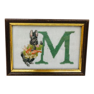 Vintage M Needlepoint Stitch in Frame For Sale