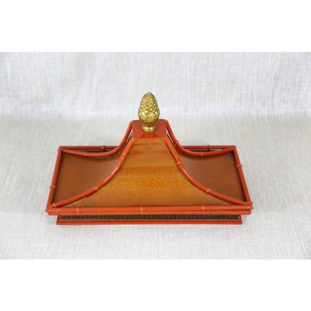 Orange Decorative Orange Metal Pagoda For Sale - Image 8 of 11