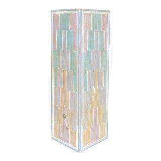 Vintage Geometric Carved Pastel Cerused Pedestal For Sale