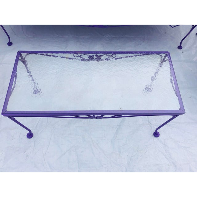 Mid-Century Modern C. 1970s Fresh Violet Paint 5-Piece Outdoor Set For Sale - Image 10 of 13