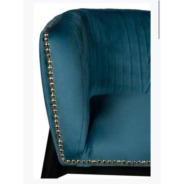 Lucy Studded Settee in Teal For Sale - Image 4 of 7