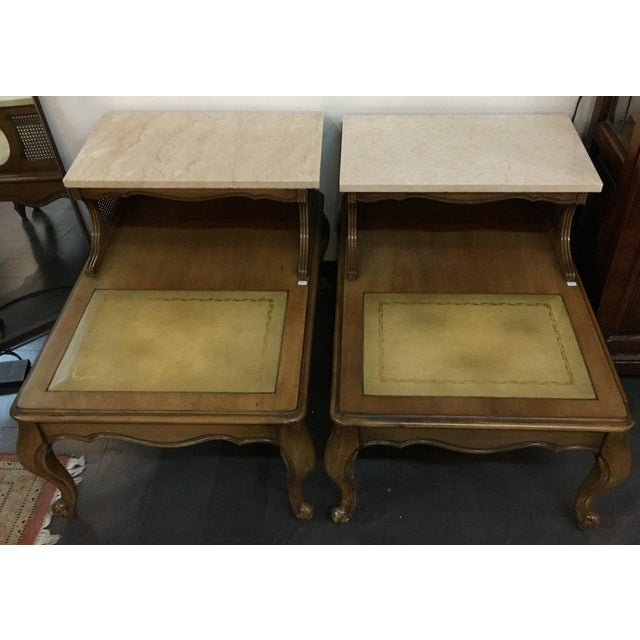 Antique French Style Marble Top Nightstands - A Pair - Image 10 of 10