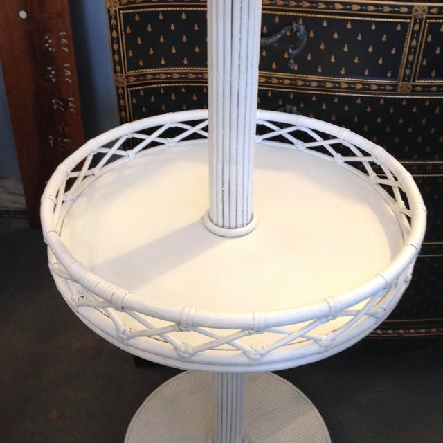 Traditional 1930s Pencil Reed Floor Lamp Table For Sale - Image 3 of 13