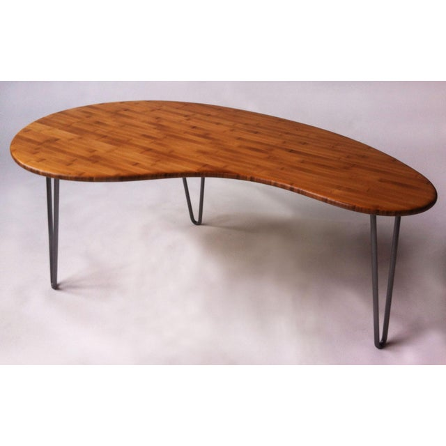 Mid-Century Style Kidney Bean Bamboo Coffee Table - Image 2 of 5