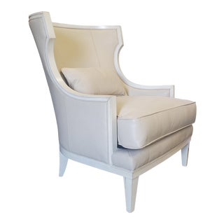 Thomasville Furniture Cream Leather Capricorn Wingback Club Chair For Sale