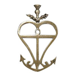 Large Antique Brass Heart Anchor Door Ornament For Sale