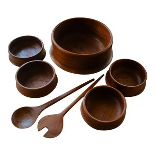 Danish Modern Teak Salad Serving Set - 7 Piece