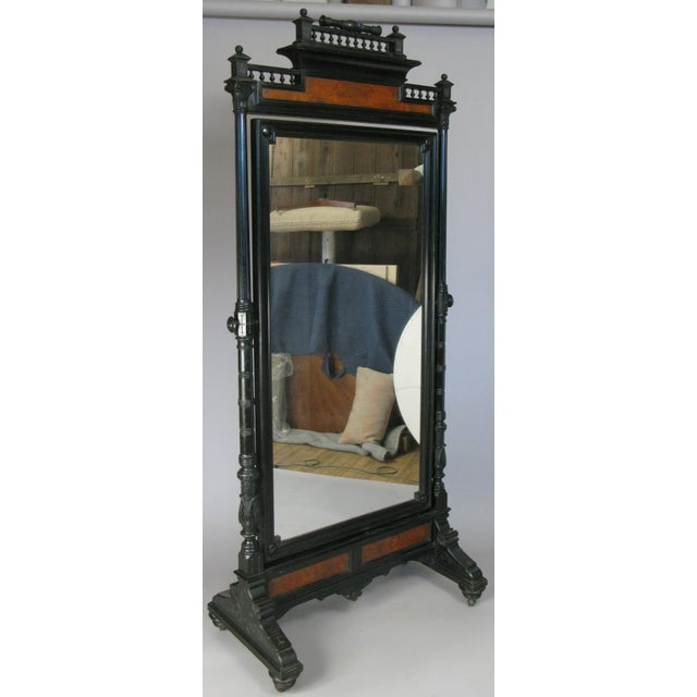Antique 19th Century Ebonized & Burled Cheval Mirror For Sale - Image 9 of 9
