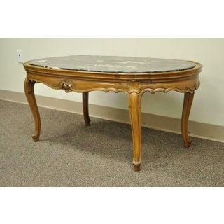 1930s French Provincial Louis XV Country Style Oval Marble Top Walnut Coffee Table Preview