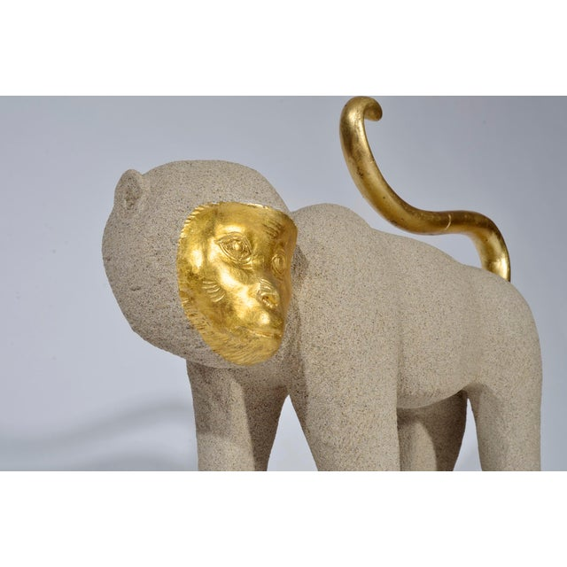 1980s Vintage Modernist Monkey Figurine With Gilt Features For Sale - Image 9 of 11