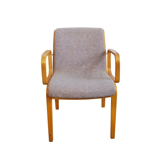 1980's Bill Stephen for Knoll. Blond birch wood. Light gray upholstery. Commercial grade textile. Wear according to age....