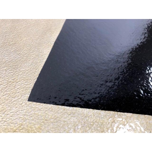 Original Framed Betty Gold Artwork Black Geometric Form Against Metallic Paper Signed For Sale - Image 9 of 12