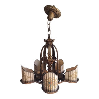R. Williamson Art Deco Four & Five Light Chandeliers - Set of 2
