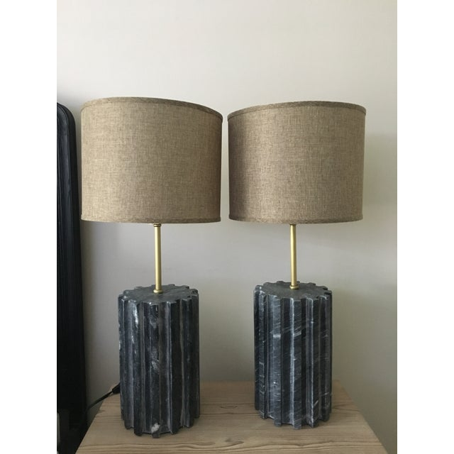 Black Marble Modern Table Lamps - a Pair - Image 5 of 7