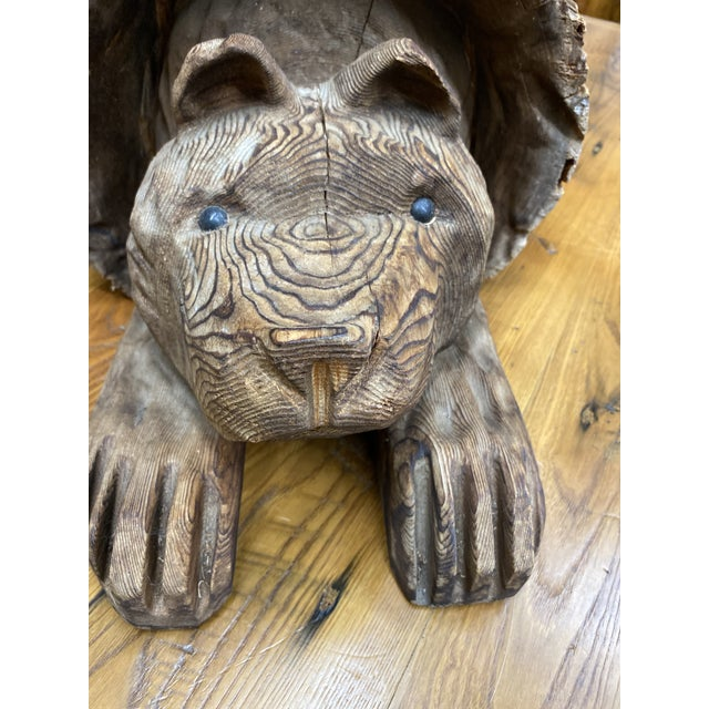 Wood Vintage Wood Carving of Cub Bear Coming Out of a Log For Sale - Image 7 of 9