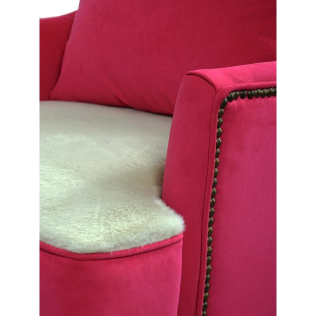BiltWell Showroom Hot Pink Faux Fur Wing Chair For Sale In Washington DC - Image 6 of 8