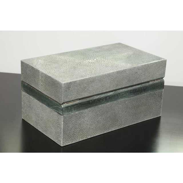 2010s Custom Shagreen Treasure Box with Parchment Trim For Sale - Image 5 of 7