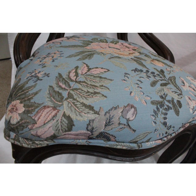 Antique Blue Needlepoint Chairs - A Pair For Sale - Image 9 of 10