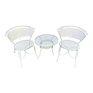 Mid Century Salterini Round Back Chairs and Side Table - Set of 3 For Sale