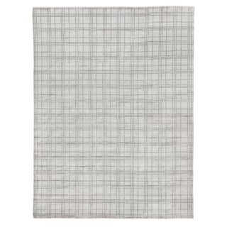 "Cambridge Hand loom Bamboo/Silk White/Silver/Gray Rug-6'x9"" For Sale"