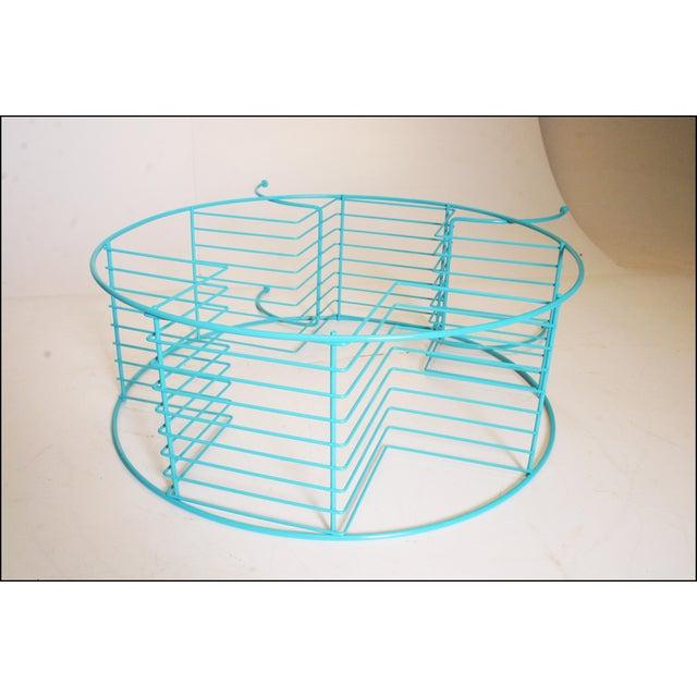 Mid Century Modern Teal Round Wire Plant Stand | Chairish