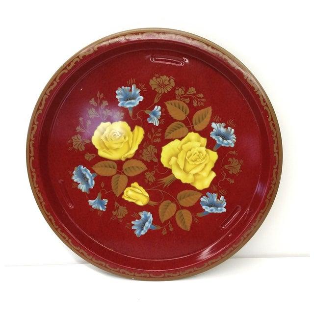 Vintage Red Metal Floral Tray - Image 7 of 9