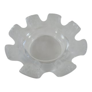 Vintage Signed Lalique St. Nicholas Crystal Ashtray With Frosted Cherub Faces For Sale