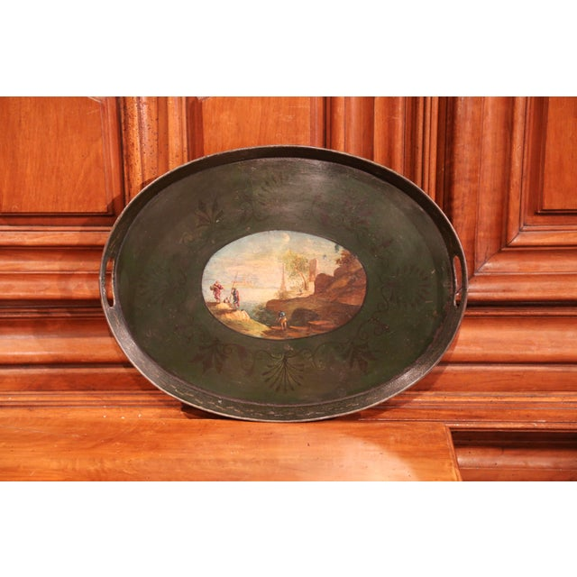 19th Century French Napoleon III Hand-Painted Tole Tray With Coastline and Cliff For Sale - Image 9 of 9