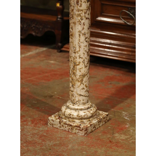 19th Century French Red and Beige Marble Pedestal Column With Square Swivel Top For Sale - Image 4 of 8