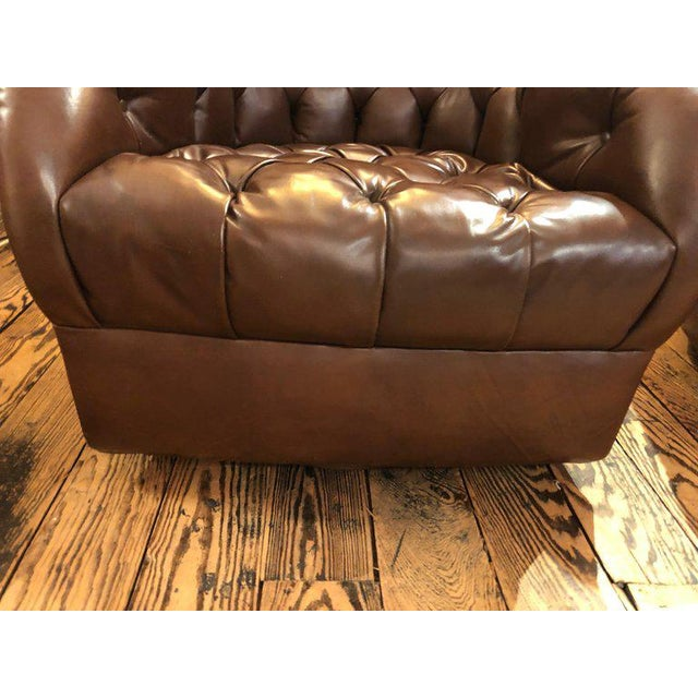 1970s Mid-Century Modern Tufted Leather Swivel Club Chairs - a Pair For Sale - Image 9 of 11