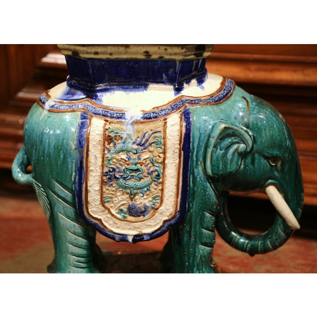 French Early 20th Century French Faience Hand Painted Elephant Garden Seat For Sale - Image 3 of 11